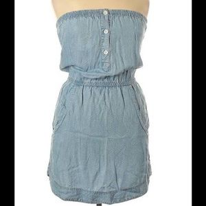👗 Bella Dahl Chambray Strapless Shirt Dress